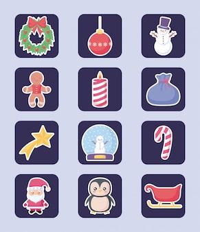 Wesołych świąt bożego narodzenia zestaw lavel