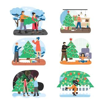 Wesołych świąt bożego narodzenia zestaw sceny
