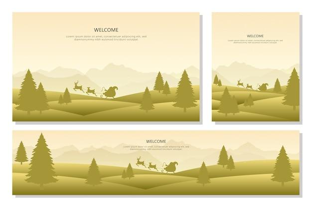 Wesołych świąt bożego narodzenia zestaw transparentu krajobraz, styl płaska konstrukcja. ilustracja tła
