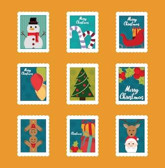 Wesołych świąt bożego narodzenia zestaw znaczków pocztowych, bałwan, laska cukrowa, drzewo, mikołaj i więcej ilustracji