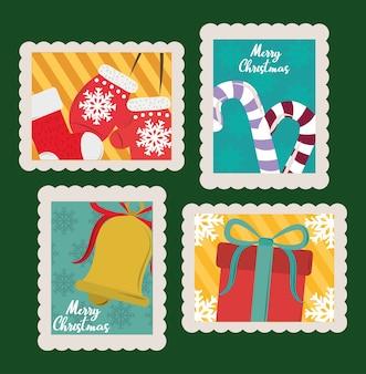 Wesołych świąt bożego narodzenia zestaw znaczków pocztowych, rękawiczki, skarpety, prezent i ilustracja dzwonka