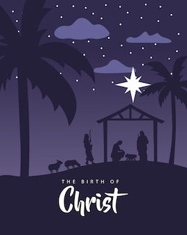 Wesołych świąt bożego narodzenia żłobie scena ze świętą rodziną w stajni i ilustracji zwierząt