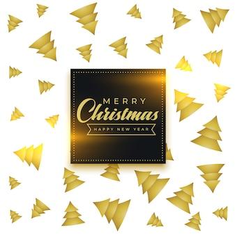 Wesołych świąt bożego narodzenia złote drzewo wzór tła
