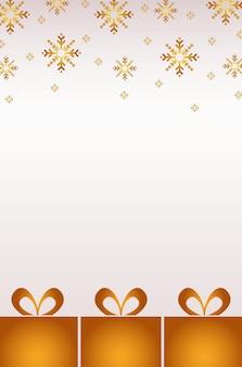 Wesołych świąt bożego narodzenia złote płatki śniegu i prezenty wzór ilustracja