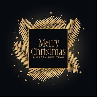 Wesołych świąt bożego narodzenia złoty i czarny festiwal tło