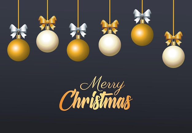 Wesołych świąt bożego narodzenia złoty napis z kulkami wisi ilustracja