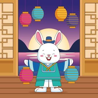 Wesołych świąt chuseok z lampkami podnoszącymi królika