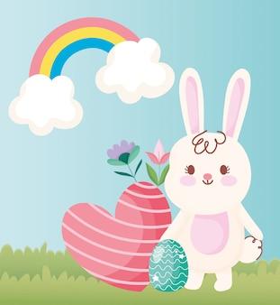 Wesołych świąt cute zajączek z jajkiem serca i kwiaty na zewnątrz ilustracji