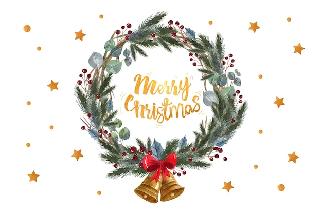 Wesołych świąt cytat w wieniec z liści sosny