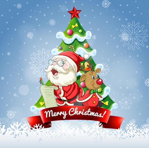Wesołych świąt czcionka z mikołajem i reniferem