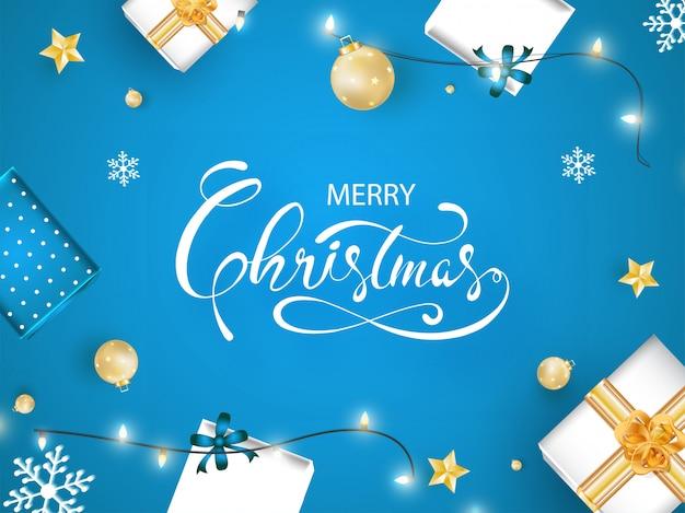 Wesołych świąt czcionka z widokiem realistycznych bombek, pudełek prezentowych, złotych gwiazd, płatków śniegu i girlandy oświetleniowej