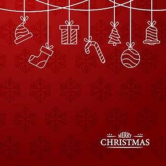 Wesołych świąt czerwone tło zarys