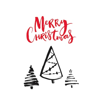 Wesołych świąt czerwony tekst i ręcznie rysowane choinki. projekt karty z pozdrowieniami wektor.