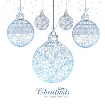 Wesołych świąt dekoracyjne kulki artystyczne tło