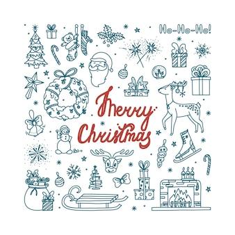 Wesołych świąt doodle ze wszystkimi obiektami wakacyjnymi ręcznie rysowane szkic świąteczny