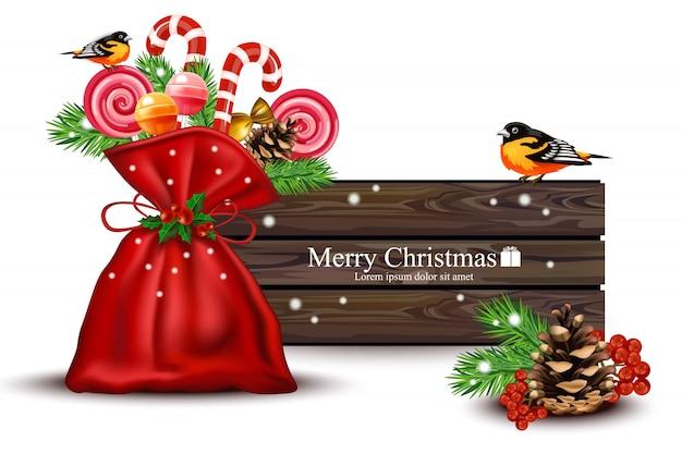 Wesołych świąt drewniane transparent z dekoracji cukierków