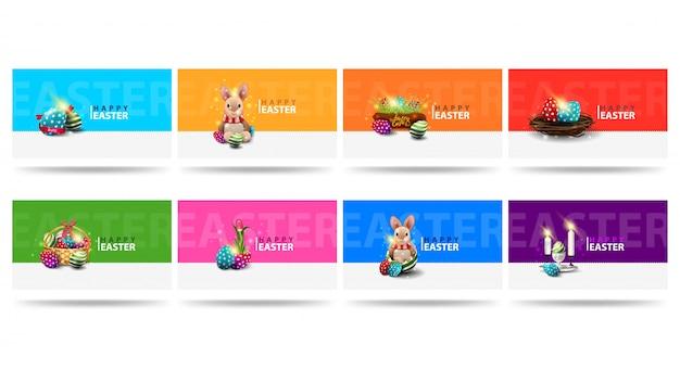 Wesołych świąt, duże, poziome kolorowe pocztówki okolicznościowe z wielkanocnymi ikonami w nowoczesnym minimalistycznym stylu