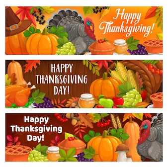 Wesołych świąt dziękczynienia jesienne żniwa z indyka