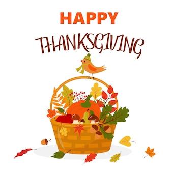Wesołych świąt dziękczynienia kosz z dyniowymi grzybami, owocami, liśćmi i ptaszkiem