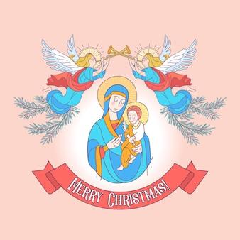 Wesołych świąt. dziewica maryja i dzieciątko jezus.