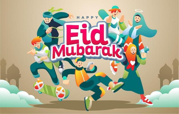 Wesołych świąt eid mubarak w wesołych i zielonych garniturach młodych muzułmanów