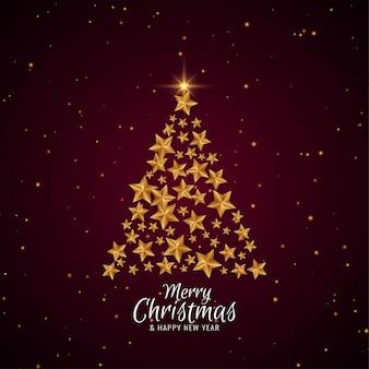 Wesołych świąt eleganckie piękne drzewo gwiazdy