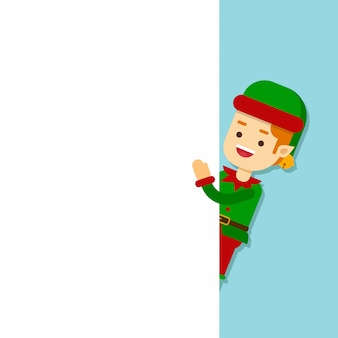 Wesołych świąt elf postaci, elf znaków trzymając transparent