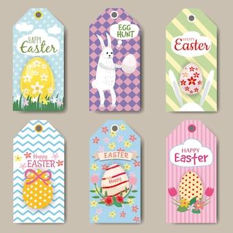 Wesołych świąt etykiet lub tagów zestaw z królikiem, jajko