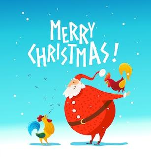 Wesołych świąt, gratulacje szczęśliwego nowego roku. święty mikołaj zabawny charakter. ładny portret koguta. styl kreskówki. dobre na świąteczne pocztówki, kartki, reklamy, przezroczyste,.
