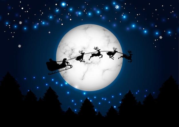 Wesołych świąt i nowego roku koncepcja santa na tle księżyca