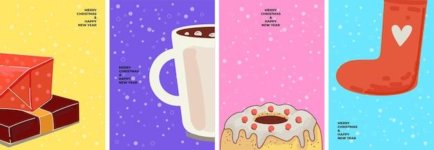 Wesołych świąt i nowego roku plakat z symbolami świątecznymi pudełkami prezentowymi stos kakao lub gorącą czekoladę