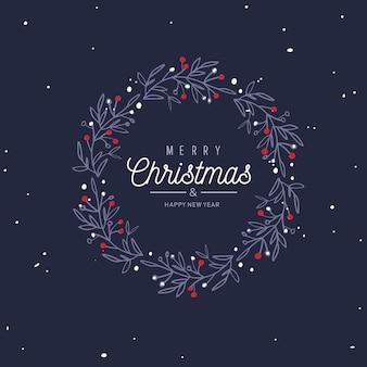 Wesołych świąt i nowego roku słowa na dekoracji ramy choinki.