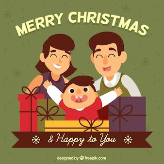 Wesołych świąt i nowego roku tła z rodziną w stylu vintage
