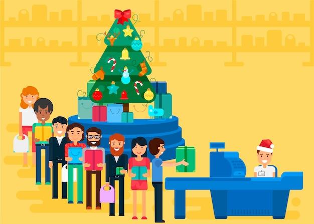 Wesołych świąt i nowego roku w sklepie. sklep z tłumem klientów i kasjerem w pobliżu kasy. prezenty i prezenty. ilustracja koncepcja zakupy. sprzedam baner na dzień świąt bożego narodzenia. wektor