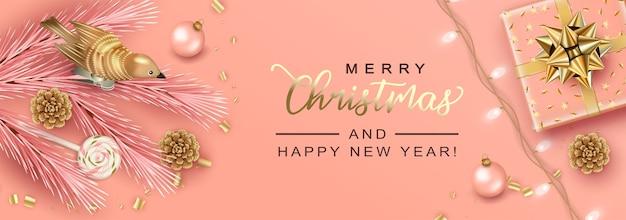 Wesołych świąt i nowego roku wakacje realistyczny transparent