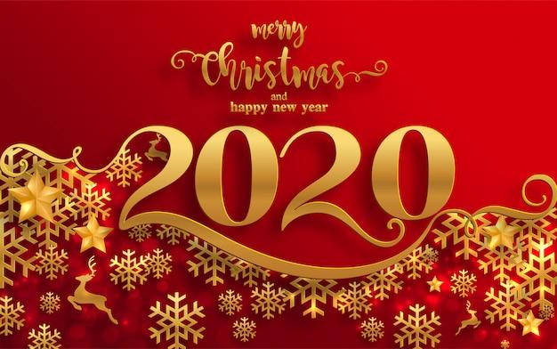 Wesołych świąt i pozdrowienia i szczęśliwego nowego roku 2020 szablony z piękną sztuką cięcia papieru wzorzyste zimy i śniegu.