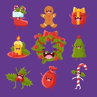 Wesołych świąt i przedmiotów świątecznych o uroczych twarzach