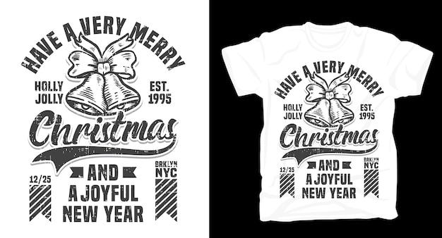Wesołych świąt i radosnej noworocznej koszulki z typografią