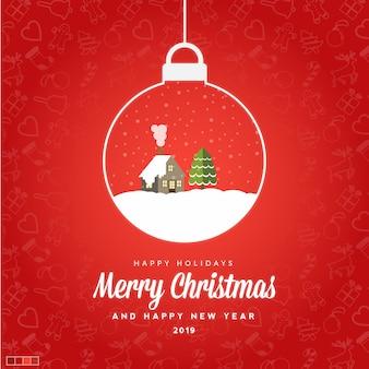 Wesołych świąt i szczęśliwego nowego roku 2019 karty