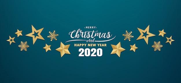 Wesołych świąt i szczęśliwego nowego roku 2020 banner