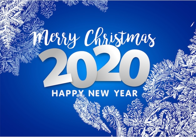 Wesołych świąt i szczęśliwego nowego roku 2020. dekoracja płatków śniegu