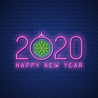 Wesołych świąt i szczęśliwego nowego roku 2020 szablon transparent neon