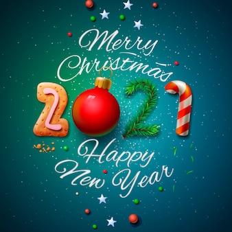 Wesołych świąt i szczęśliwego nowego roku 2021 kartkę z życzeniami