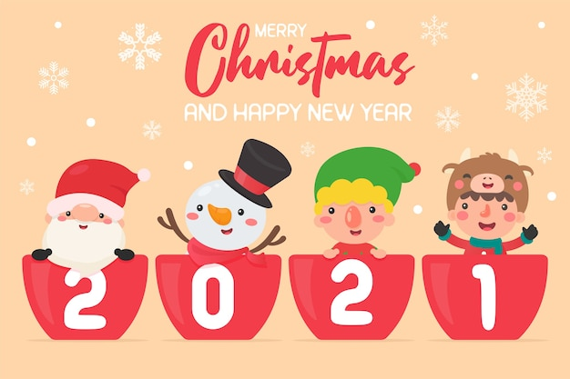 Wesołych świąt i szczęśliwego nowego roku 2021. postacie z kreskówek mikołaj i dzieci wesołych świąt.