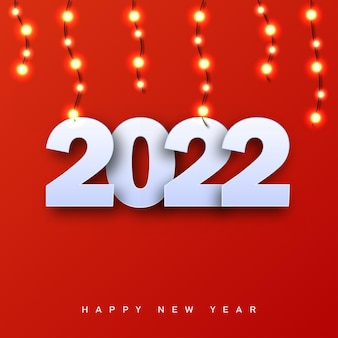 Wesołych świąt i szczęśliwego nowego roku 2022 z girlandami świątecznymi. wektor.