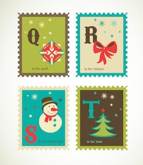 Wesołych świąt i szczęśliwego nowego roku alfabetu. kolekcja szablonów na kartkę z życzeniami, baner lub plakat
