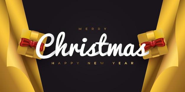 Wesołych świąt i szczęśliwego nowego roku baner lub plakat z pudełkiem upominkowym i papierem do pakowania w kolorze czarnym i złotym