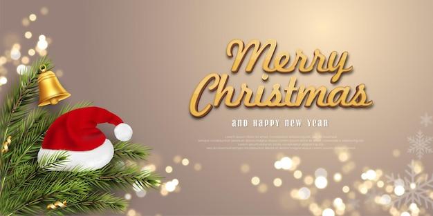 Wesołych świąt i szczęśliwego nowego roku baner na wyblakłym kolorze