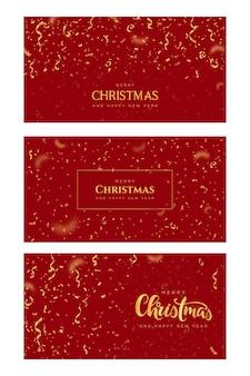 Wesołych świąt i szczęśliwego nowego roku banery ze złotym konfetti