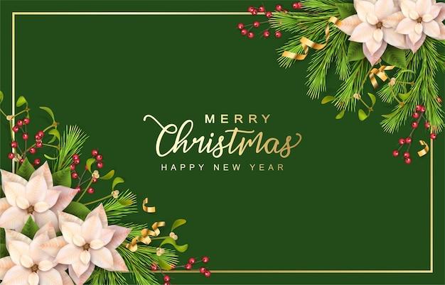 Wesołych świąt i szczęśliwego nowego roku banner z dekoracjami świątecznymi i kwiatami bożonarodzeniowymi